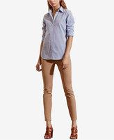 Lauren Ralph Lauren Petite Striped Cuffed Long-Sleeve Shirt
