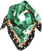 Dolce & Gabbana Leaf & Polka Dots Print Silk Twill Scarf