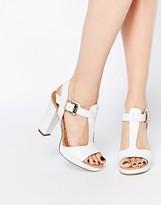 Dune Ismin White Leather & Cork Heeled Sandals