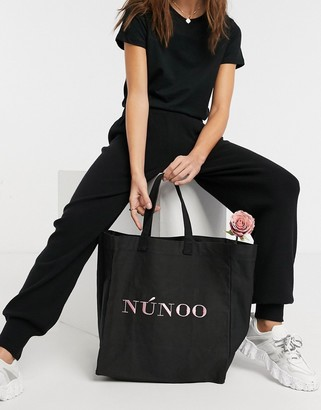 Nunoo big recyced canvas tote bag in black