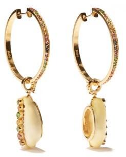 Aron & Hirsch - Etiope 18kt Gold & Sapphire Hoop Earrings - Multi