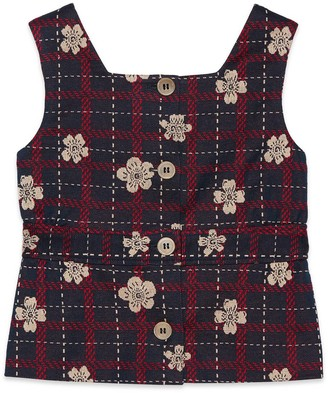 Gucci Children's flower check cotton top