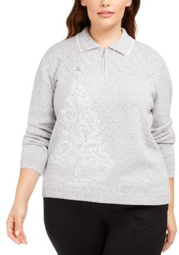 Alfred Dunner Plus Size Lake Geneva Embroidered Tree Sweater