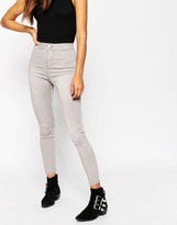 Asos Rivington High Waist Denim Jeggings In Light Grey Wash