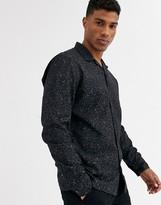 Jack and Jones revere collar leopard print shirt in black
