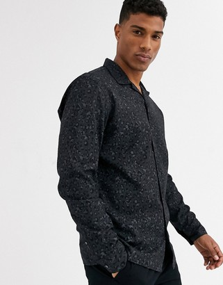 Jack and Jones revere collar leopard print shirt in black