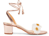 Charlotte Olympia Tara Appliquéd Metallic Leather Sandals - Pink