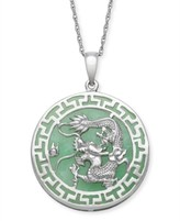 Macy's Green Jade (25 mm) Dragon Circle Pendant in Sterling Silver