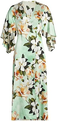 Adriana Iglesias Perla Reversible Stretch-Silk Robe Dress