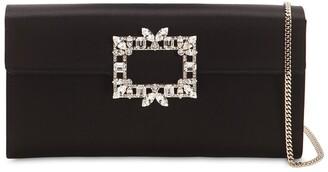 Roger Vivier Trianon Crystal Buckle Satin Clutch