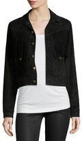 Current/Elliott The On-The-Fringe Trucker Jacket, Black