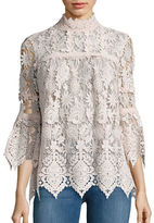 Anna Sui Sheer Long-Sleeve Lace Top