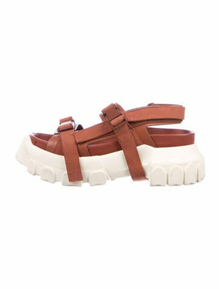 "Rick Owens Chunky ""Tractor"" Sandals Leather Sandals Brown"
