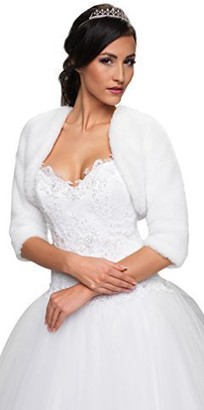 Ossa Wedding Lightweight Soft Faux Fur Bridal Jacket Shrug with Three Quarter Length Sleeves Bolero Full Lined (M