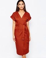 Club L Crepe Wrap Over Detail Dress