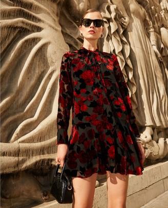 The Kooples Short frill dress in black floral print