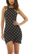AX Paris Navy & Beige Geometric Tulip Dress