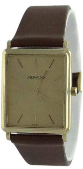 Movado 95809 14K Yellow Gold / Leather 24mm Mens Watch