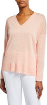 Eileen Fisher V-Neck Organic Linen Boxy Sweater