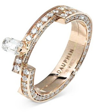 Dauphin 'Disruptive' pave diamond 18k rose gold two tier ring