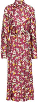 Gabriela Hearst Jane Paneled Belted Printed Silk Midi Shirt Dress