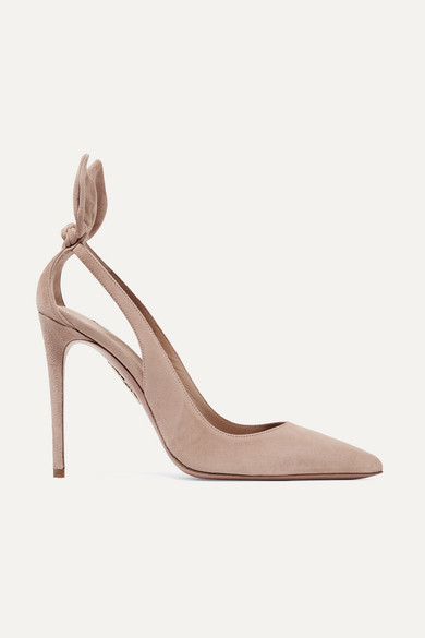 Aquazzura Deneuve 105 Bow-embellished Suede Pumps - Blush