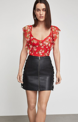 BCBGMAXAZRIA Faux Leather Lace-Up Skirt