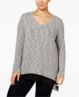 Style&Co. Style & Co. Plus Size Jacquared Layered-Look Top, Only at Macy's
