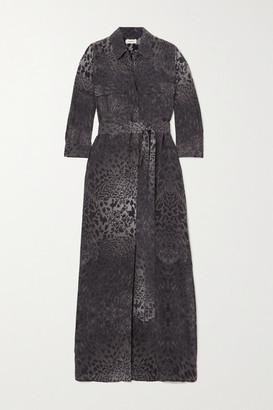 L'Agence Cameron Belted Animal-print Silk Midi Shirt Dress - Black