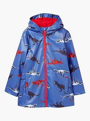 Joules Little Joule Boys' Young Skipper Dinosaur Print Coat, Blue
