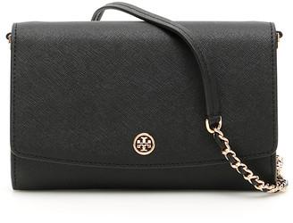 Tory Burch ROBINSON CHAIN CLUTCH OS Black Leather