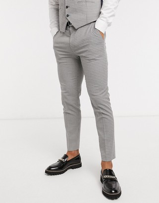 Burton Menswear skinny suit pants in brown dogtooth