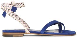 Manolo Blahnik Nastrafla blue flat sandals