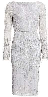 Rachel Gilbert Women's Long-Sleeve Allover Ombre Beaded Sheath Dress
