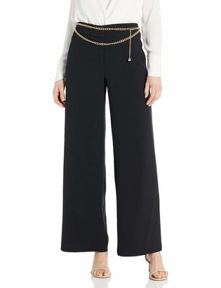 Tahari ASL Women's Wide Leg Pant with Chain Belt