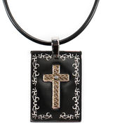 JCPenney Mens Stainless Steel & 18K Gold Diamond-Accent Cross Dog Tag Pendant Necklace