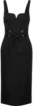 Rebecca Vallance Greta Tie-front Cloque Midi Dress