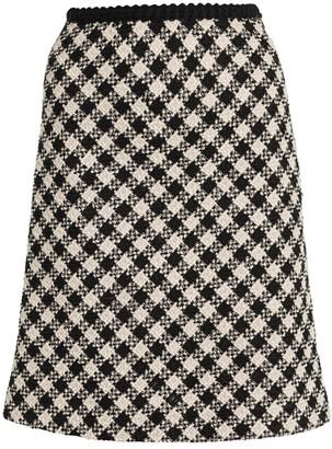 Miu Miu Tweed Vichy Wool-Blend A-Line Skirt