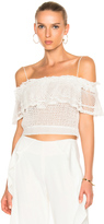 Jonathan Simkhai Ruffle Crochet Off Shoulder Crop Top