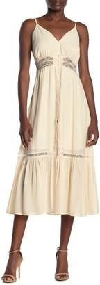 Lush Lace Inset Ruffled Midi Dress