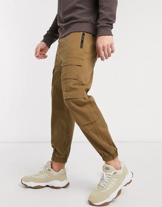 Bershka cargo jogger in brown