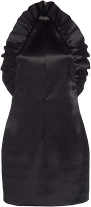 Philosophy di Lorenzo Serafini Ruffled Collar-Detailed Satin Mini Dres