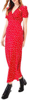 Oasis Short Sleeve Red Spot Bias Midi Dress