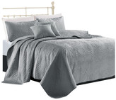 Sherry Kline Shell 3-piece King Luxury Embroidered Velvet Quilt Set, L