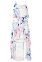 Quiz Cream Pink And Blue Floral Print Dip Hem Dress