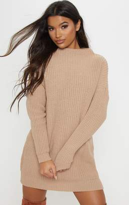PrettyLittleThing Stone Oversized Cable Knit Dress
