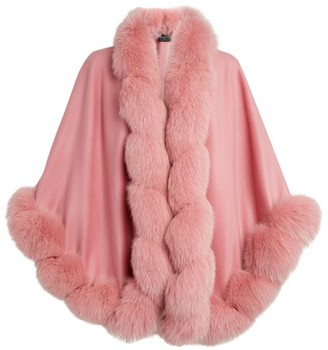Harrods Fox Trim Cashmere Cape