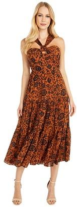 BB Dakota Batik A Peek 'Batik Floral' Crinkle Cotton Gauze Midi Dress (Rustic Orange) Women's Dress