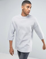 Asos Oversized T-Shirt With 3/4 Sleeve And Turtle Neck In Rib