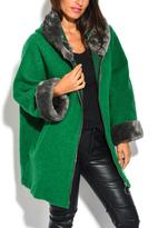 Green Faux Fur-Trim Hooded Wool-Blend Coat - Plus Too
